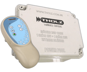 Power Pool Tholz Aciona até 20 Refletores de 9W ou 40 de 4,5W Possui uma Saída Auxiliar de 2CV e Outra de 1CV