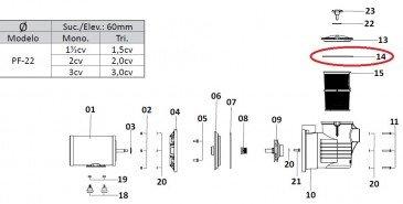 Oring da Tampa do Pré-filtro Dancor PF-22 1.5 até 3cv