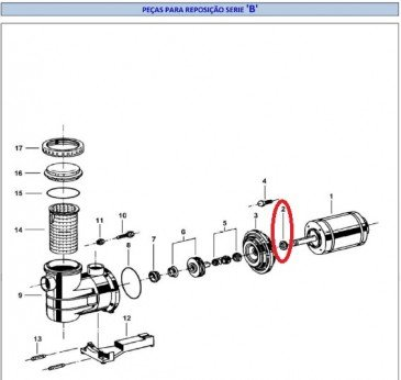 Defletor eixo B1C/B1D para os motores B Jacuzzi