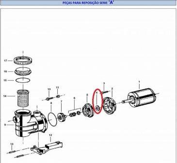 Defletor eixo B1C/B1D compátivel com os motores da linha A da marca Jacuzzi