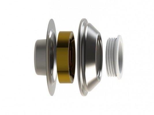 Dispositivo de Aspiração Aço Inox 60mm para Piscina de Concreto Flange Traseira em Inox