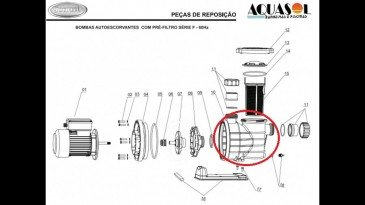 Corpo do Pré Filtro do Motor para Piscinas Jacuzzi F