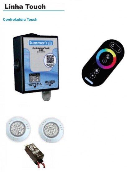 Conjunto de led para piscina com 2 Refletores Power Led Rgb Abs + Controle com touch + Fonte