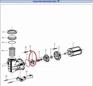 Rotor 5A de 1/2 cv da Motobomba Jacuzzi Modelo A