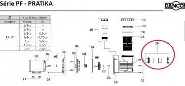 União Soldável do Motor de Piscina Dancor PF-17