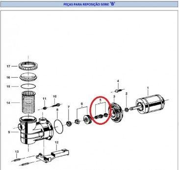 Selo Mecânico 3/4 do Motor para Piscinas Jacuzzi B
