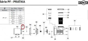 Porca Sextavada do Motor de Piscina Dancor PF-17