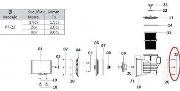 Parafuso Sextavado para Motor de Piscina Dancor PF-22