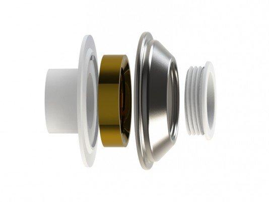 Dispositivo de Aspiração Aço Inox 50mm Flange Traseira em ABS para Piscina de Concreto