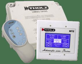 Controlador para Piscina Max Touch Pool Tholz Possui Efeito Áudio + 1 Saída de 2CV + 2 Saídas de 1CV, com Timer. Controle do Aquecimento Solar ou Trocador