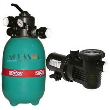 Filtro para Piscina 16 até 32 Mil Litros Dancor DRF 12 e Bomba 1/4cv