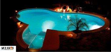 Conjunto de iluminação 1 Led azul de piscina + Fonte