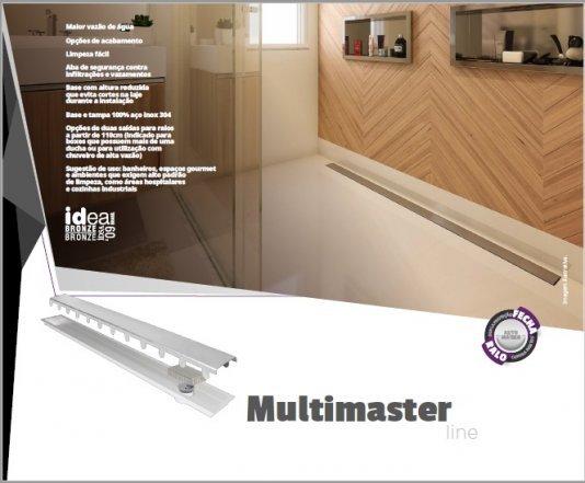 Ralo linear Multimaster tampa inox saídas duplas