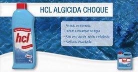 Algicida choque hidrosan elimina algas em piscinas.