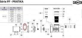 Defletor do motor de piscina Dancor Linha PF-17/PF-22