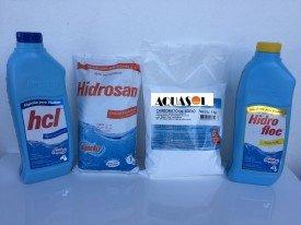 Kit Básico Piscina Compacta/Plástica: 1kg Cloro, 1L Algicida, 1L Clarificante, 1kg Barrilha