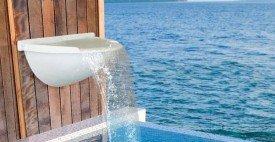 Cascata Pira fabricando em fibra de vidro para piscinas.