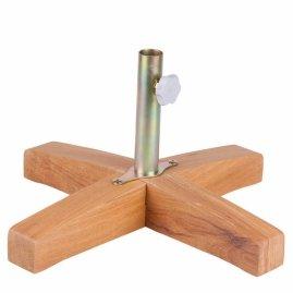 Base grande fabricada em madeira com suporte em aço para fixação do Guarda - Sol .